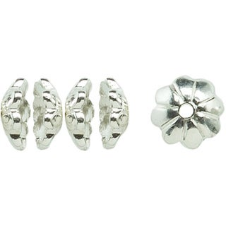 Silver-plated Metal Findings Melon Spacer Beads (Pack of 12)