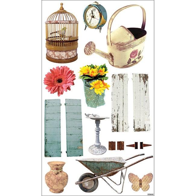Shabby Chic Cardstock Gardening Stickers (Set of 17)