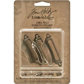 Tim Holtz Idea-Ology Metal Label Pulls with Fasteners (6 Pulls/12 Fasteners)