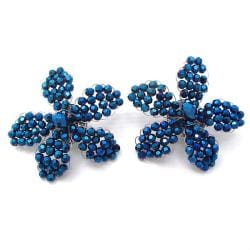 Handmade Metallic Blue Crystal Floral Radiance Clip-On Earrings (Thailand)