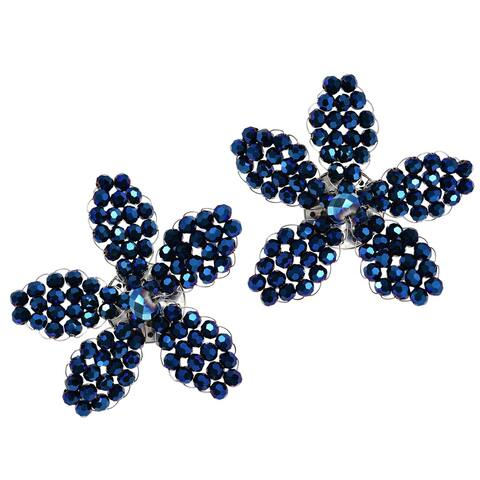 Handmade Metallic Blue Crystal Floral Radiance Clip-On Statement Earrings (Thailand)