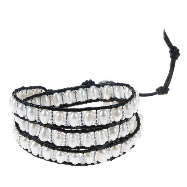 Handmade Pure Romance Freshwater White Pearl 3-Wrap Leather Bracelet (Thailand). Opens flyout.