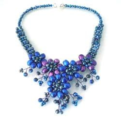 Blue-Purple Sunflower Floral Blossom Pearl Necklace (Thailand)