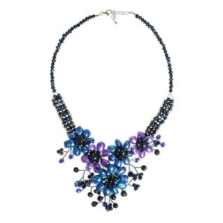 Handmade Blue-Purple Sunflower Floral Blossom Pearl Necklace (Thailand)