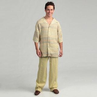 Ferrecci Men's Two-piece Green Linen Walking Suit