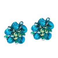 Handmade Blue Zebra Painted Mother of Pearl Floral Earrings (Thailand)