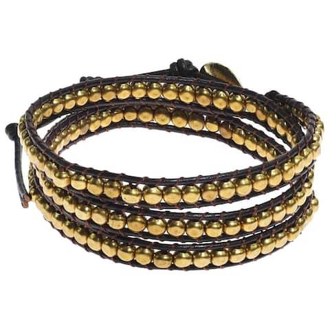 Handmade Brass Beads Leather Triple Wrap Bracelet (Thailand)
