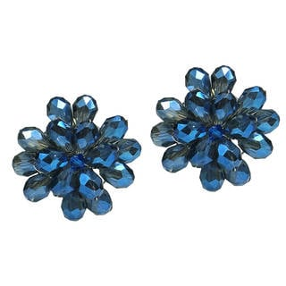 Dazzling Black Chrysanthemum Crystal Clip On Earrings (Thailand)