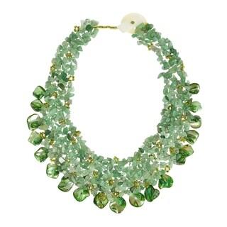 Handmade Green Aventurine and Seashells Cluster Stone Toggle Necklace