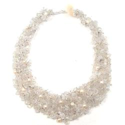 Clear Cascades Quartz-Pearl-Crystal Medley Trio Bib Necklace (Philippines)
