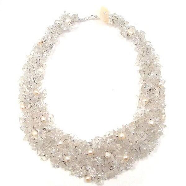 Handmade Clear Cascades Quartz-Pearl-Crystal Medley Trio Bib Necklace (Philippines)