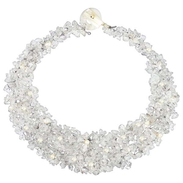 Handmade Clear Cascades Quartz-Pearl-Crystal Medley Trio Bib Necklace (Philippines)