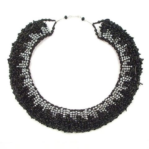 Handmade Treasures Silver Crystal-Synthetic Coral Dramatic Necklace (Thailand)