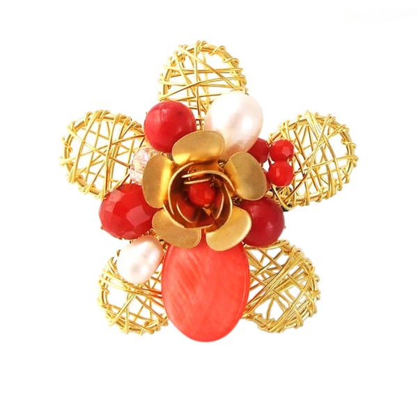 Brass Wire Works Blossoming Rose Red Mother of Pearl Stone Free-Size Ring (Thailand)