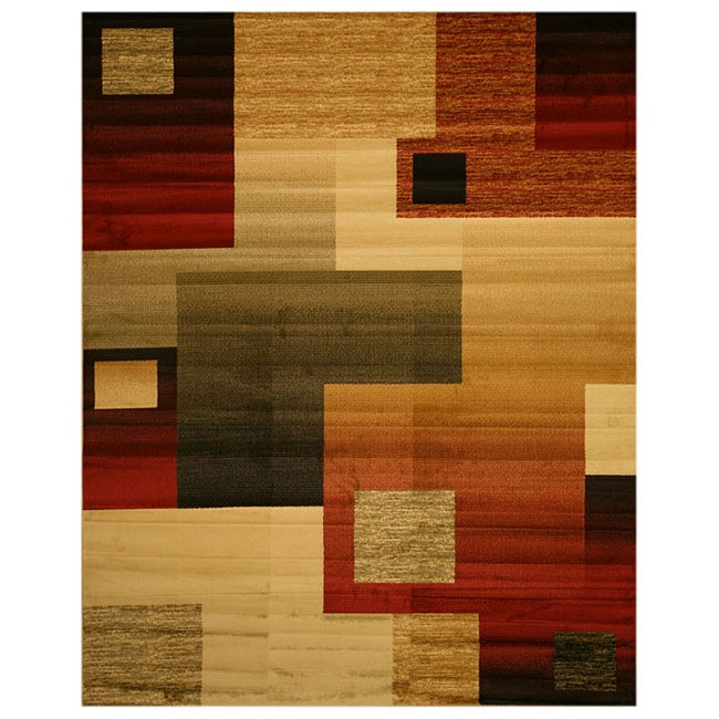 Beige Contemporary Abstract Modern Boxes Rug (8'10 x 9'10)