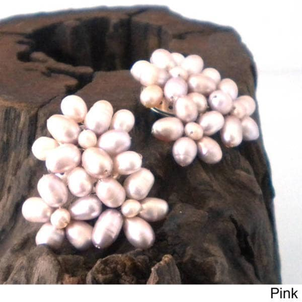 Handmade Blooming Floral Romance Pink Pearl Clip On Earrings (Thailand)