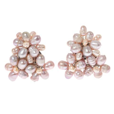 Handmade Blooming Floral Romance Pink Pearl Earrings (Thailand)
