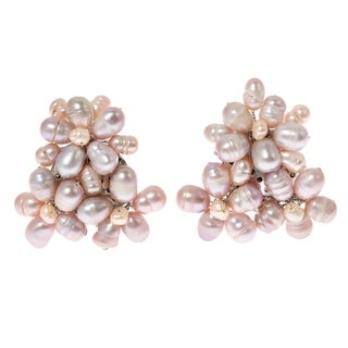 Handmade Blooming Floral Romance Pink Pearl Earrings (Thailand) (2 options available)