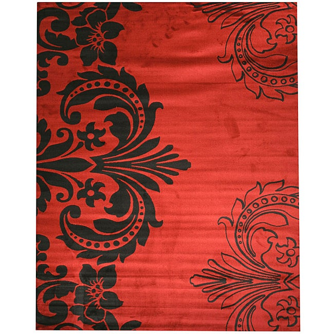 Red Contemporary Abstract Sofia Rug (8'10 x 9'10)