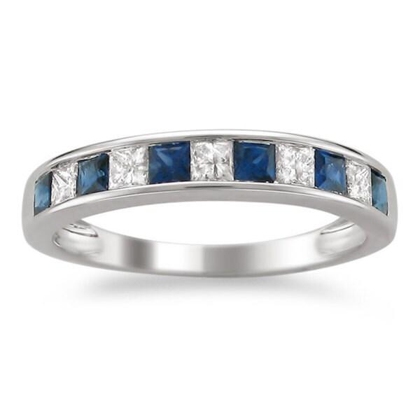Montebello 14k White Gold Sapphire and 1/4ct TDW Diamond Wedding Band (H-I, I1-I2)