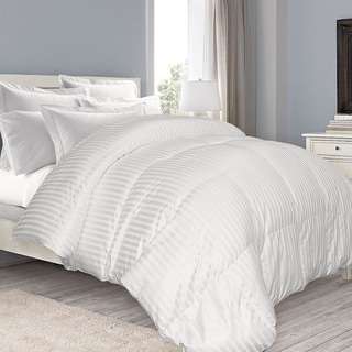 Damask Stripe Extra Warmth White Down Comforter