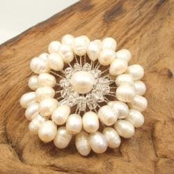 Freshwater White Pearl Embellished Sunflower Floral Pin/Brooch (Thailand)