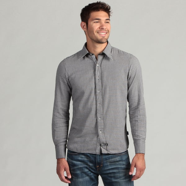 Scott Weiland Men's Black Houndstooth Woven Shirt