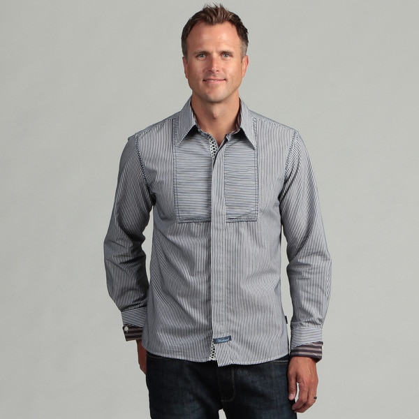 Scott Weiland Men's Navy Stripe Woven Shirt
