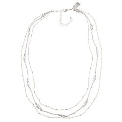 Three-Strand Rectangle Crystal Necklace