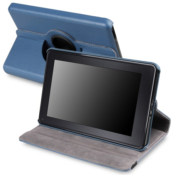 Blue 360-degree Leather Swivel Case Version 2 for Amazon Kindle Fire