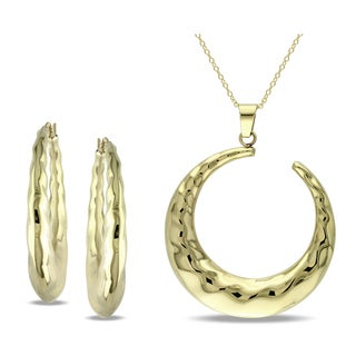M by Miadora 18k Yellow Gold Overlay Crescent Earring and Necklace Set