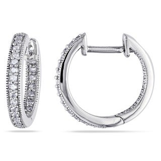 Link to Miadora 14k White Gold 1/4ct TDW Diamond Hoop Earrings Similar Items in Bedroom Furniture