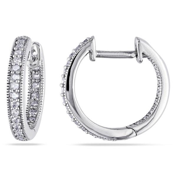 Miadora 14k White Gold 1/4ct TDW Diamond Hoop Earrings