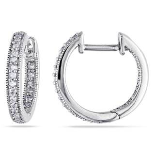 Miadora 14k White Gold 1/4ct TDW Diamond Hoop Earrings