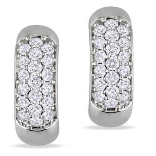 Miadora 14k White Gold 3/5ct TDW Diamond Cuff Earrings