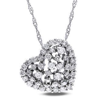 Miadora 14k White Gold 1ct TDW Diamond Heart Necklace