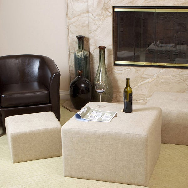 Juniper Fabric Nested Ottomans (Set of 3) by Christopher Knight Home