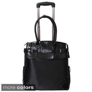 Amerileather Deluxe Skylar Large Women's 17-inch Rolling Tote with Laptop Compartment|https://ak1.ostkcdn.com/images/products/6635517/P14199828.jpg?impolicy=medium