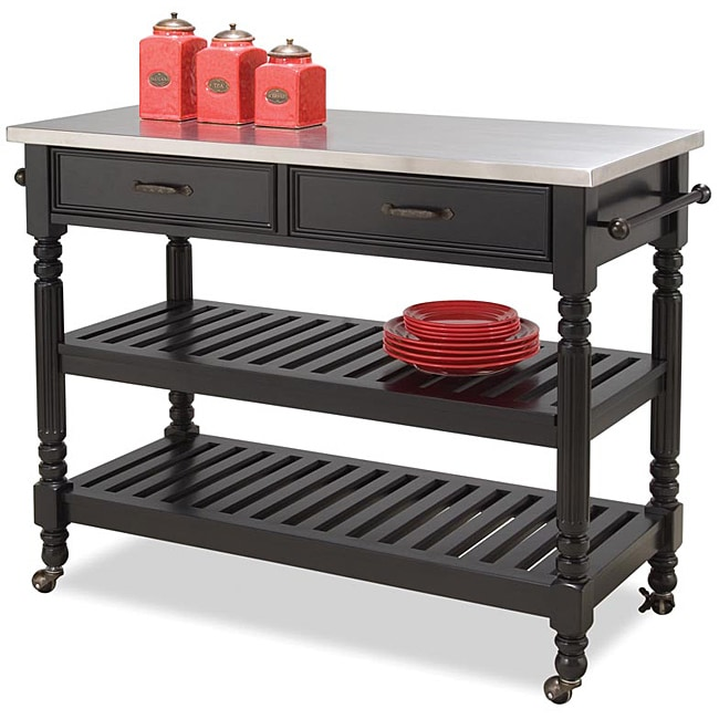 Savannah Black Kitchen Cart by Home Styles - Thumbnail 0