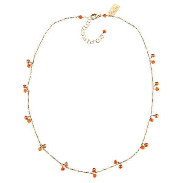 Rafia 14k Gold-fill Orange Carnelian and Pearls
