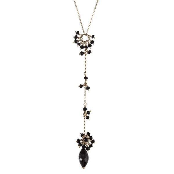 Rafia 14k Gold-filled Spinnel and Black Onyx Necklace