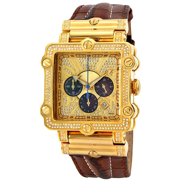 JBW Men's 'Phantom' Diamond and Gold Bezel Watch