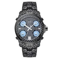 JBW Men's 'Jet Setter' Black Ion-Plated Five Time Zone Diamond Watch