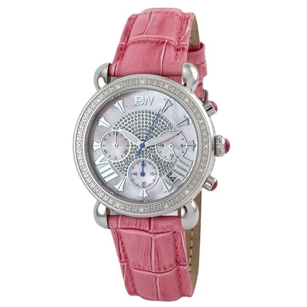 JBW Women's Stainless Steel Leather Strap Diamond Watch