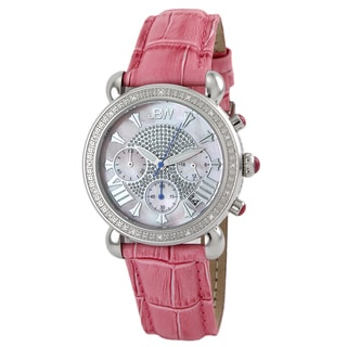 JBW Women's Stainless Steel Leather Strap Diamond Watch