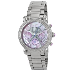 JBW Women's Stainless Steel Diamond Pink Dial Watch