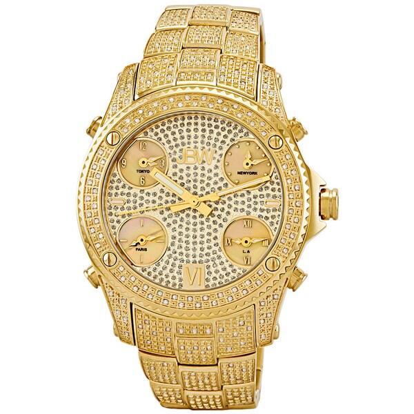 JBW Men's 'Jet Setter' Gold Five Time Zone Swiss Quartz Diamond Watch