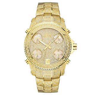 JBW Men's 'Jet Setter' Gold Tone Five Time Zone Swiss Quartz Diamond Watch