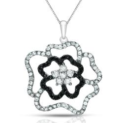 Auriya 14k Gold 1/2ct TDW Black and White Diamond Flower Necklace (G-H, I1-I2)