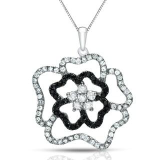 Auriya 14k Gold 1/2ct TDW Black and White Diamond Flower Necklace